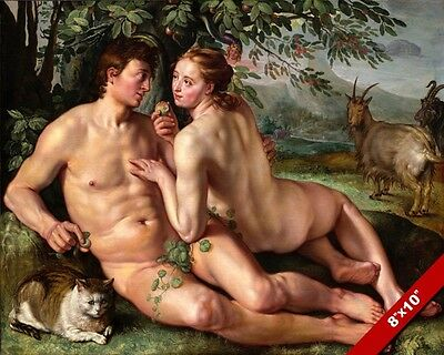 The Fall Of Man Adam & Eve Garden Of Eden Painting Bible Art Real Canvas Print