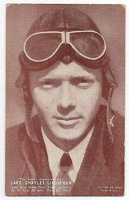 1920s Charles Lindbergh Photo Card with Goggles