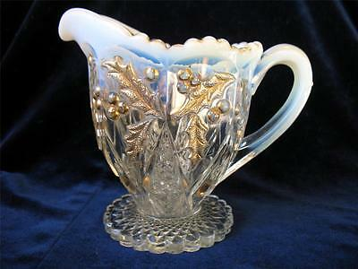 EAPG Northwood Paneled Holly Creamer Pitcher Opalescent & Gold Excellent