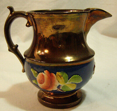 Antique Copper Luster & Cobalt Jug Pitcher applied relief Cherub & Roses