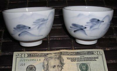 ANTIQUE 2 FLOW BLUE BUGS IMPORTANT JAPANESE BOWLS MARK Porcelain & Pottery White