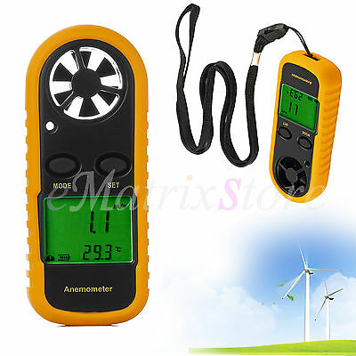 Digital LCD Anemometer Handheld Wind Sailing Speed Velocity Meter Thermometer UK