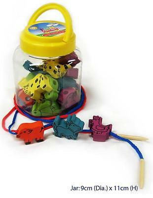 NEW Fun Factory Wooden Lacing Threading Toy Animals in Jar - 30 Pce