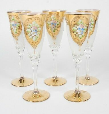 Vintage Set Of 5 Hand-Painted Bohemian Champagne Flutes In The Style Of Moser