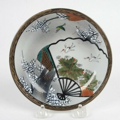 Antique Japanese Handpainted Kutani Moriage Style Dish