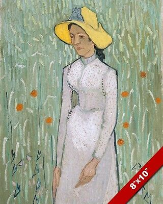 Girl In White Among Flowers Vincent Van Gogh Painting Art Real Canvas Print