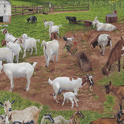 Goats Farm Animal Grass Pet Country Billy Goat Quilt Fabric FQ or Metre NEW