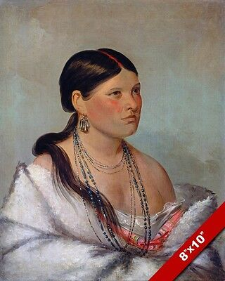 Native American Indian Woman Female Eagle Shawano Painting Art Real Canvas Print