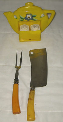 LOT OF 3 VINTAGE SUPERLON TEAPOT SALT/PEPPER SHAKER, KNIFE/FORK BAKELITE HANDLES