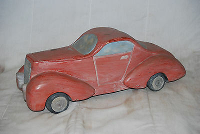"VINTAGE SOLID PIECE CARVED WOODEN EARLY MODEL CAR 17X6.5"" LARGE DECORATIVE PIECE"