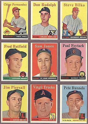 1958 TOPPS BASEBALL LOT OF 45 CARDS ALL DIFFERENT EXMT - NM