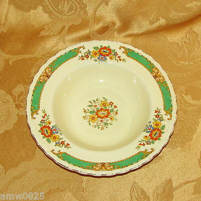 """ANTIQUE GRINDLEY THE SELKIRK 8"""" RIM SOUP BOWL GREEN BAND ORANGE YELLOW FLOWERS"""