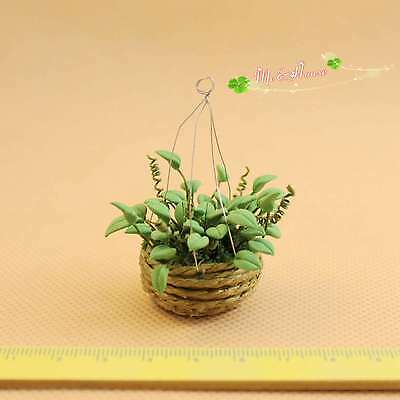 1/12 dollhouse miniature handcrafted clay greenery in woven pot hanging plant