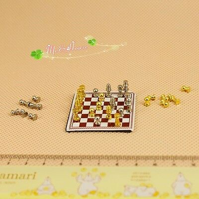 1/12 Dollhouse Miniature Metal high-end Chess toy a set with chessboard