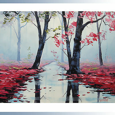 HUGE ABSTRACT CANVAS PAINTING PINK TREES  Modern wall art  DECO ny G.Gercken