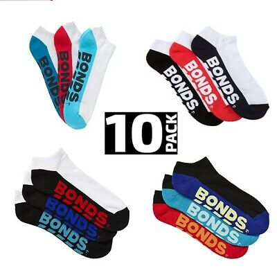10 Pairs Brand New Bonds Men's Sports Ankle Low Cut Running Socks Sz 6 10 11 14