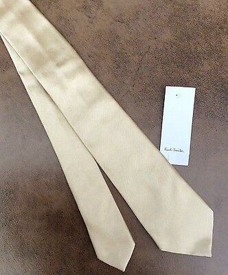 Paul Smith 100% Silk Pale Gold Narrow Tie Made In Italy Bnwt