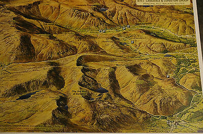 3D Aerial Panoramic A4 Fell Walking Map of Lake District No3 Unusual Gift Idea