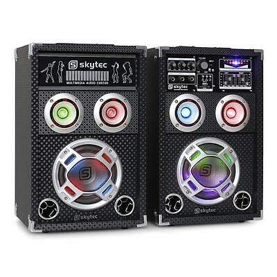 Party Karaoke Pa Dj Aktiv Lautsprecher Set Paar16Cm Boxen Usb Sd Mp3 Player Neu