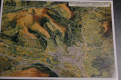 3D Aerial Panoramic A4 Fell Walking Map of Brecon Beacons No12 Unusual Gift Idea