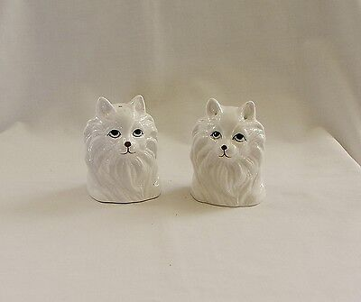 Precious Vintage Bone China Pair of White Cat Salt & Pepper Shakers~Excellent!