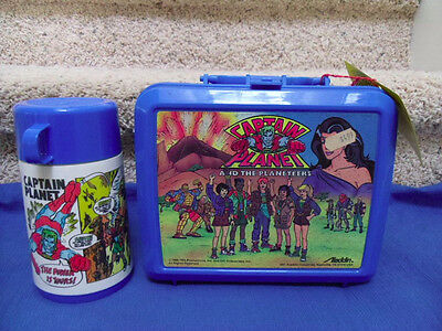 1990 Captain Planet Plastic Lunchbox w/tag & Thermos Nice Condition