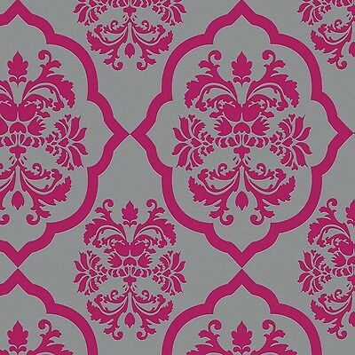 Hot Pink with Black & Silver Glitter Damask Wallpaper ...