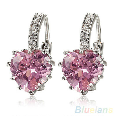 Women's Charismatic 18K White Gold Plated Pink Crystal Heart Leverback Earrings