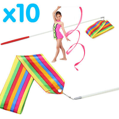 10x RHYTHMIC GYMNASTICS RIBBONS DANCE CHILDREN TWIRLING ROD STICK WAND STREAMER