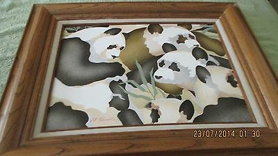Beautiful Framed Panda Bears Painting Artistic Interiors Signed by Artist