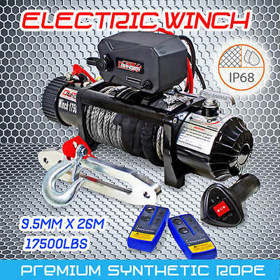 OutRanger 17500LBS 12V Electric Winch Remote 26m Synthetic Rope IP68 7938KG 4WD