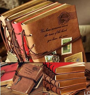 LO US Retro Classic Vintage Leather Bound Blank Pages Journal Diary Notebook