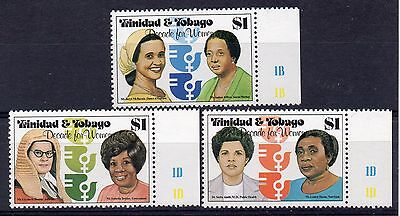 TRINIDAD & TOBAGO = 1980 Decade for Women set/3. SG 577/9 MNH. Marginal Cyl.