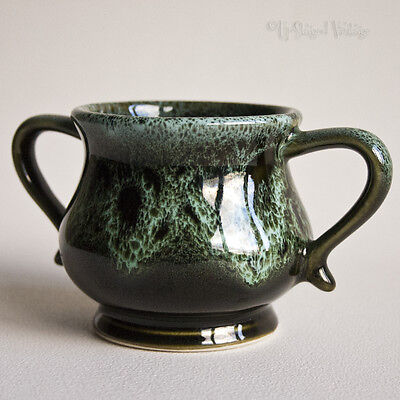 Vintage Fosters Studio Pottery Sugar Bowl in Green Honeycomb Glaze - FREE UK P&P