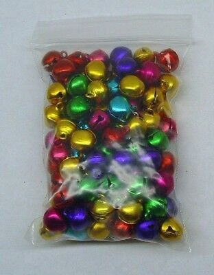 LOT 500 JINGLE BELLS ~ MIXED JEWEL Tones Christmas Colors Beads Charms 10-12mm