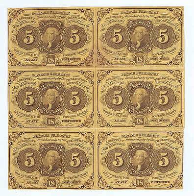 5¢ FRACTIONAL POSTAGE CURRENCY AMERICAN BANK NOTE BLOCK of 6 ( SIX ) HIGH GRADE