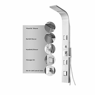 Stainless Steel Waterfall Shower Panel Rain Massage System Faucet with Jets
