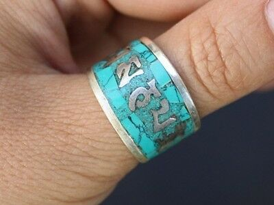 Tibetan 925 Silver Plated Sloping Turquoise Gemstone Inlay Spaced OM Mani Ring