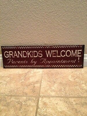 Grandkids Welcome Parents By Appointment 19x5.5  Sign Granparents Family Garage