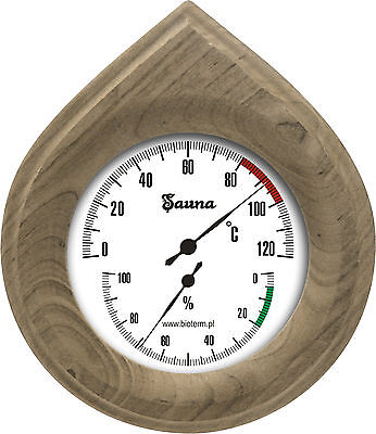 Sauna Thermometer Hygrometer Wood Frame Easy Read Dial New
