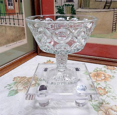 """ANTIQUE EAPG BELLAIRE # 151 GIANT BULLSEYE CRYSTAL 5 7/8"""" COMPOTE 1889"""