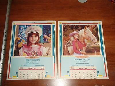 BX467 Vintage LOT of 2 1972 Horse Calendars Ad Horsley's Grocery Crainville ILL