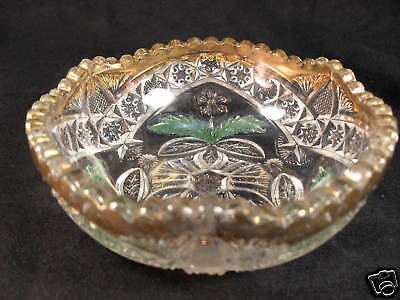 INDIANA GLASS EAPG Gaelic Gold + Lavender Flash Small Berry Bowl RARE Early 1908