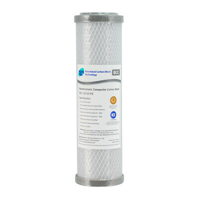 """SILVER Coconut Carbon Block Water Filter 0.5 Micron 10"""" x 2.5"""" BCC2510-P5 