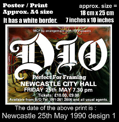 Ronnie James Dio live concert at Newcastle 25th of May 1990 A4 size poster print