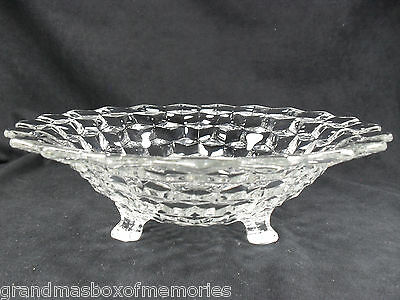 Vintage FOSTORIA AMERICAN Clear Crystal Tri-Footed Centerpiece Bowl CUBE CUBIST