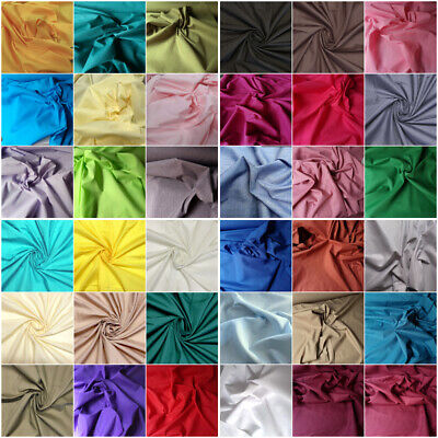 Poly Cotton 45 Colours fabric material plain colour sold by the metre 112cm wide