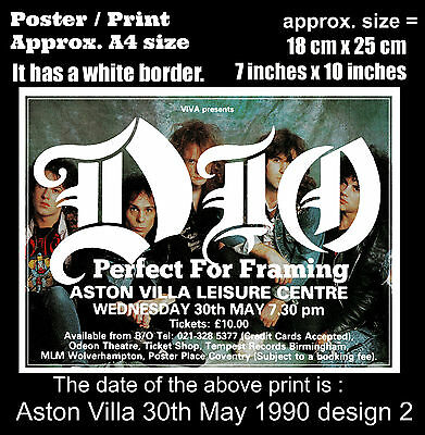 Ronnie James Dio live concert Aston Villa 30th of May 1990 A4 size poster print