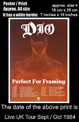Ronnie James Dio live UK concert tour Sept Oct 1984 A4 size poster print