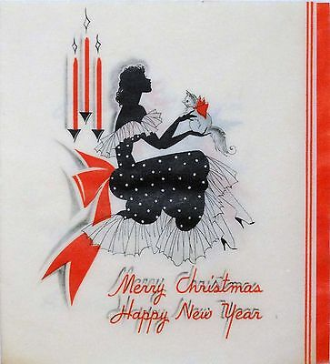 #1293 30s Buzza Art Deco Lady w/ Cat-Vintage Christmas Card-Greeting